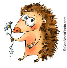 Hedgehog holding a flower. Valentine's Day. Freehand drawing