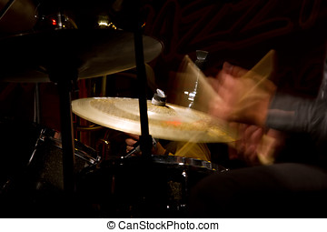 Drum set with focus on hi-hat cymbal