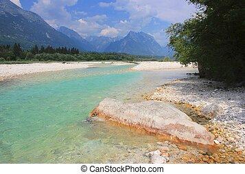 Soca river and Julian Alps, Slovenia - Soca river and Julian...