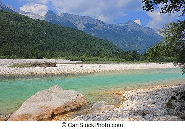 Soca river landscape, Julian Alps, Slovenia - Soca river...