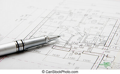architectural plans and pen