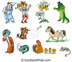Set of fairy tale characters and animals. Freehand drawing. Child's picture book
