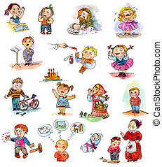 Funny kids on a white background. Freehand drawing. Child's...
