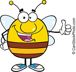 Pudgy Bee Giving A Thumb Up - Happy Pudgy Bee Cartoon Mascot...