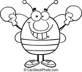 Outlined Bee Wearing Boxing Gloves