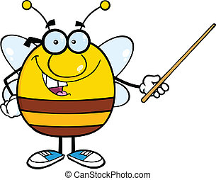 Pudgy Bee Holding A Pointer