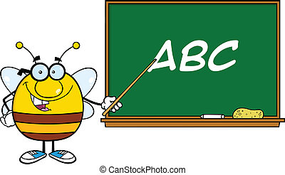 Bee In Front Of Blackboard
