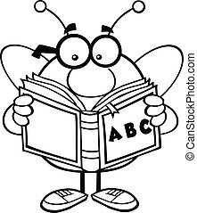 Outlined Bee Reading A ABC Book