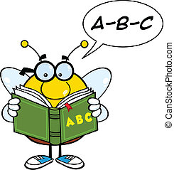 Pudgy Bee Reading A ABC Book - Pudgy Bee Cartoon Mascot...