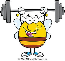 Happy Pudgy Bee Lifting Weights - Happy Pudgy Bee Cartoon...
