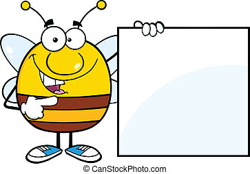 Pudgy Bee Showing A Blank Sign