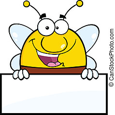Pudgy Bee Over Blank Sign - Pudgy Bee Cartoon Mascot...