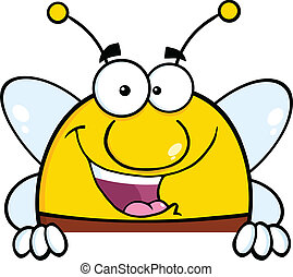Pudgy Bee Over Blank Sign - Pudgy Bee Cartoon Character Over...