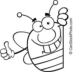 Outlined Pudgy Bee Behind A Sign - Black And White Pudgy Bee...