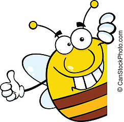Bee Giving A Thumb Up Behind A Sign - Pudgy Bee Cartoon...