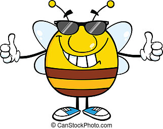 Pudgy Bee Giving A Double Thumbs Up - Smiling Pudgy Bee With...