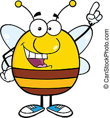 Pudgy Bee Pointing With Finger - Pudgy Bee Cartoon Character...