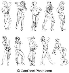 Pencil sketches of figures, hand drawn
