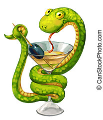 Green snake. Martini glass with olive. Snake on cup...