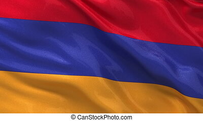 Seamless loop of the Armenian flag waving in the wind