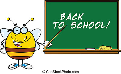 Pudgy Bee In Front Of Blackboard