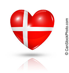 Love Denmark, heart flag icon - Love Denmark symbol 3D heart...