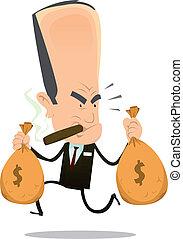 Bankster Runaway - Illustration of a funny bad banker crook...