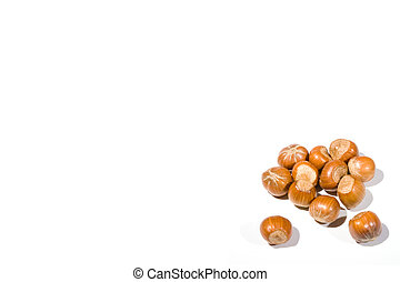 High Key Hazelnuts - high key closeup of a small collection...