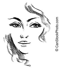 Female silhouette. Portrait of beautiful girl. Hand-drawn....