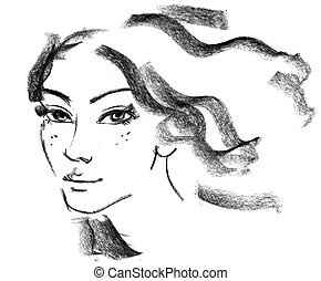 Female silhouette Portrait of beautiful girl Hand-drawn...