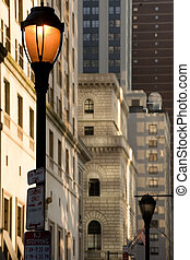 Philadelphia street scene - Street lamp in center city,...