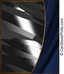 Design template. Metal background with blue edges. - The...