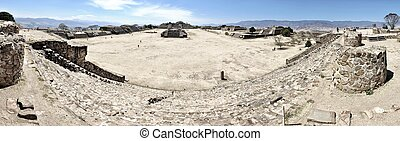 Panorama of Monte Alban ruins, Mexico - Aerial view of Monte...