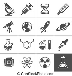 Research icon set. Simplus series. Vector illustration