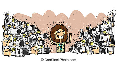 Famous character surrounded by crowd of paparazzi...