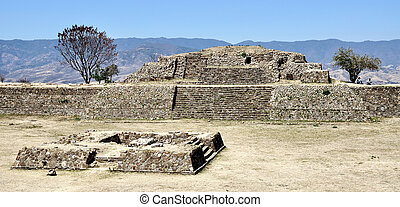Monte Alban ruins, Mexico Pyramide - Aerial view of Monte...