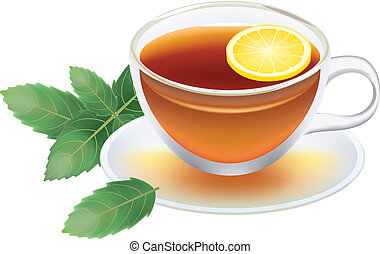 transparent cup of black tea with lemon and mint