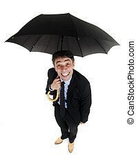 Obsequious businessman holding an umbrella - Obsequious...