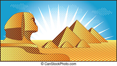 Egyptian pyramids at Giza and the Sphinx vector illustration...