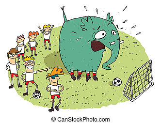 Group of youngsters making fun of an elephant on a soccer...