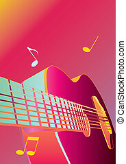 music background or poster with guitar vector illustration