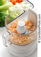 Food processor image.  - Making the chopped vegetables.