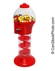 Chewing gum machine plenty of gumballs Insert coin and get...