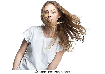 young woman with long healthy hair