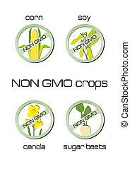 Non GMO crops set of signs for corn, soy, canola, sugar...