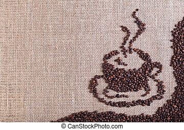 Coffee on burlap sack background with copy space