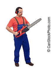 Worker with chainsaw and protective gear - isolated