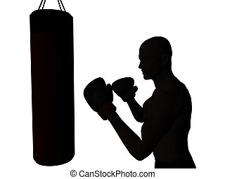 Boxer - A boxer exercising, ready to punch a punching bag