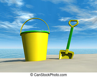 Bucket and spade on the beach - A bucket and a spade on a...