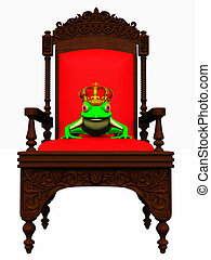 Frog prince in chair - A frog with a crown on his head...